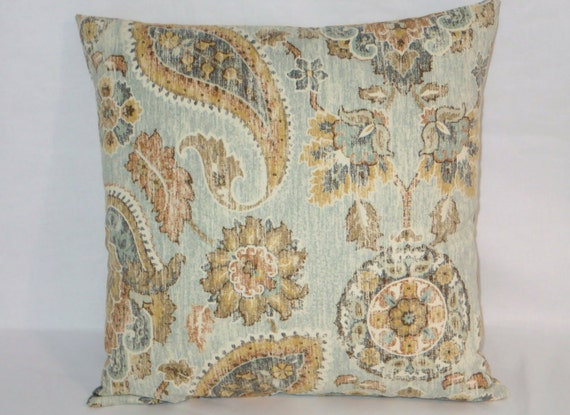 Pale Aqua Throw Pillow : Aqua Paisley Throw Pillow Pale Blue Medallion Floral Kaufmann