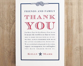 Patriotic Wedding Thank You Signs For A Reception Table Top Includes  Customizable Wording, Paper,