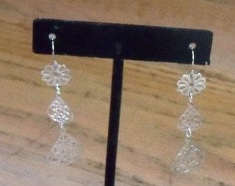 Dangle Earrings Handmade Pale Silvertone Reclaimed Parts Prom Wedding Gift for Her Jewelry Jewellery