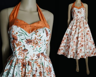 Vintage 1950s Halter Dress //50s Dress//Mod //New Look //Femme Fatale//Rockabilly