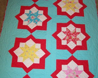 Twin Quilt, Star Quilt, Girl Quilt, Bed Quilt, Gift Quilt, Quilts For Sale, Made in USA, Flower Sugar Fabric, Busy Hands Quilts