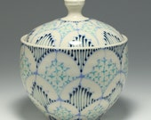 Wheel Thrown Handmade Ceramic Jar with Sky, Navy and Turquoise Pattern