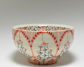 Small Wheel Thrown Handmade Ceramic Bowl with Melon, Red and Navy Pattern