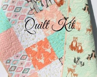 Quilt Kit Girl Aztec Feather Tribal Woodland Rustic Buck Crib Toddler Bedding Deer Buck Antlers Arrows Serape Tan Brown Pink Quilting Sewing