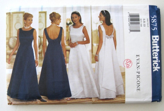 1990s wedding or evening dress pattern butterick 5875 womens for High low wedding dress patterns