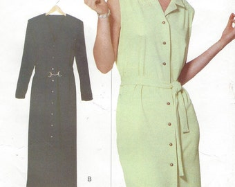 90s Womens Button Front Straight Dress Vogue Elements Sewing Pattern 9606 Size 6 8 10 12 14 16 18 20 22 Bust 30 1/2 to 42 UnCut