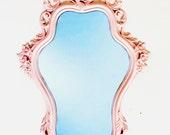 Ornate Light Pink Mirror  - Hollywood Regency vintage frame and mirror, light pastel pink home decor - little girls room nursery decor