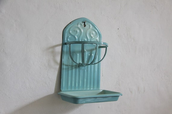 Antique French Enamel Primitive Soap Dish Sponge Holder