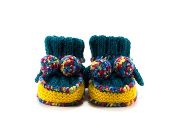 Knitted Baby Booties - Blue, Yellow and Red