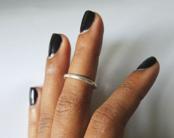 Silver Thick Midi Ring (Mid-Knuckle Phalange)