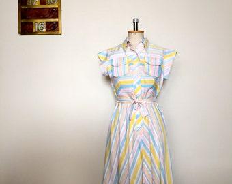 Vintage 70s pastel candystripe dress M