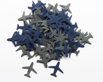 100 Airplanes in Navy Blue and Gray-Hand Punched Embellishments, Confetti