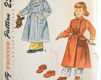 Vintage 1949 Child Robe and Moccasin Slipper Set Simplicity 3053 Pattern Size 8