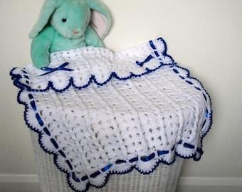 Crocheted Blue and White Stroller Blanket, Pram Blanket, Baby Afghan, Travel Blanket for Baby