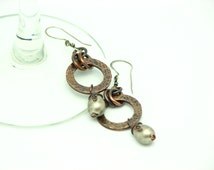 Copper Dangle Earrings Rustic Copper Jewelry Metal Work Circle Hammered Earrings Gray Pearl Wire Wrapped