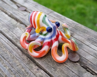 White Rainbow Striped Octopus Pendant