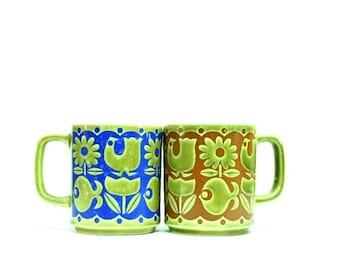Midcentury Modern Hornsea Style Coffee Mugs:  Set of Two Mod Fish, Flower, Birds