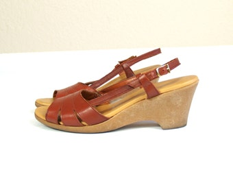 vtg 70s mahogany leather PEEP TOE cut out WEDGES sandals 7 heels hippie boho festival