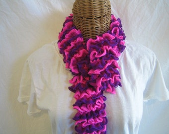 Kids Ruffle Scarf knitted Pink Fuchsia Purple frilly scarf for toddlers girls child kids teens