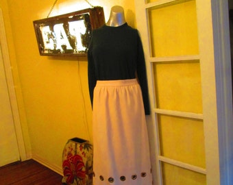 Vintage White Long Skirt With Gold Circles / 70s Off White Skirt Medium GORGEOUS