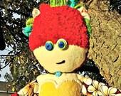 Cloth Doll, OOAK Handmade Hawaiian Themed Doll with Grass Skirt