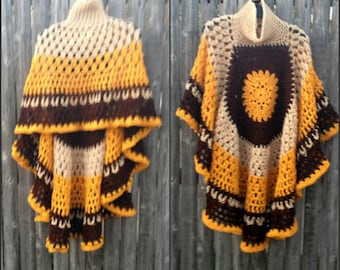 Brown Tones Poncho Crochet Circular Asymmetric Poncho Shawl  Beige Gold and Brown Handmade Poncho Ready To Ship Gift for Mom Gift for Her