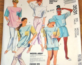 McCall's 3531 Tee Top, Pants, Shorts Womens Misses Vintage 1980s Easy Learn to Sew Sewing Pattern Size 14-16 Bust 36-38 Uncut Factory Folds