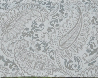 Cafe Curtains - 2 panels . Premier Prints Shannon Ecru . Grey and Taupe Paisley . Lined or Unlined . Handmade by Seams Original