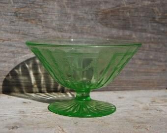 Vaseline Glass decorative Footed Dish