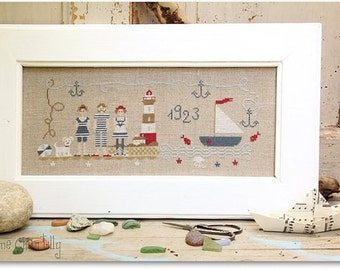 Tous à la Mer : Madame Chantilly counted cross stitch patterns Summer vacation beach ocean swimming hand embroidery