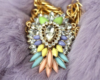 Gold & Pastel Rainbow Statement Necklace {rhinestone / wedding necklace / special occasion}