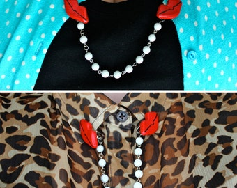 Lips Sweater Clips / Lips Sweater Guard / Cardigan Clip / Collar Clip / Lipstick / Pearls / Kiss / Sweater Clip / Pins / Red Lipstick