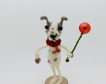 Spotted Dog Terrier puppy Dog  Wool Needle felted Vintage German Style red vintage mercury glass  - Little Teeter T Frost