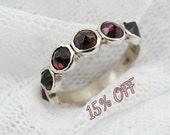 Sterling silver ring. Garnet ring. Natural Garnet spikes ring. Silver ring. Garnet silver ring. Silver garnet ring. Garnet jewelry (sr-9531)