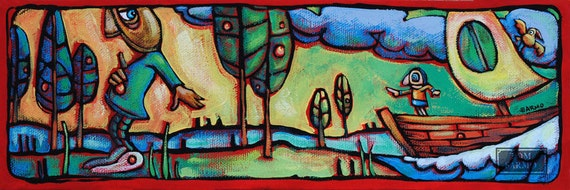 colorful fantasy retro original modern style acrylic painting ooak