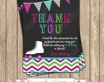 DIY Roller Skating Girl Birthday PRINTABLE Thank You Card  Chalkboard #2 pink  purple teal chevron