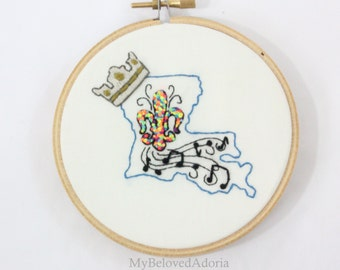 Louisiana State- Hoop Art/Embroidery- Wall Hanging/Home Decor- READY TO SHIP