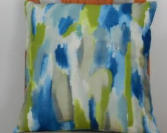 Watercolor Pillow Cover, Blue, Green, Gray, White Screen Print, Linen Like Slub Mill Creek Home Dec Fabric,  18 x 18 inch, for sofa, chair