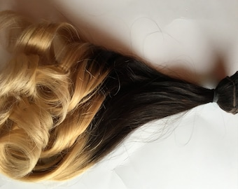 Ombre Hair Extensions Dark Brown Black to Light Blonde Clip in 100% Human Hair Remy Full Set Double Wefted Dip Dye Fade 18 inches