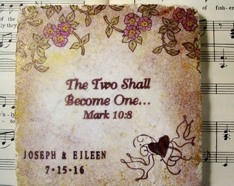 Christian Personalized Wedding, The Two Shall Become One...Mark 10:8, Wedding Coasters Set of 4 Bridal Registry