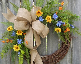 Wildflower Wreath - Spring / Summer Wreath - Everyday Burlap Wreath, Door Wreath, Front Door Wreath