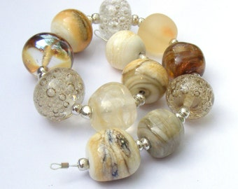 Lampwork orphan beads - set of 12 neutral beads mainly taupe, grey (gray) and cream reenegades