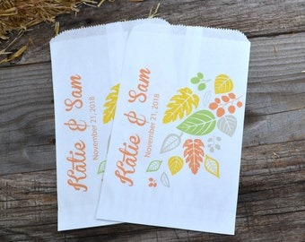 Fall Leaves Personalized White Favor Bags for Weddings, Fall Engagement Party, Popcorn Bars Candy Bags Autumn Wedding Fall Wedding Favor
