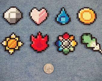 Pokemon Indigo League Gym Badges Iron On Patch Set