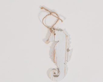 Mini Wooden Seahorse, Hanging  - White distressed