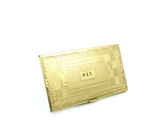 Business Card Holder. Monogram Card Case. Personalized WEK Initials. Geometric Antique Style Pattern. Embossed Gold Tone. Vintage Gift Idea