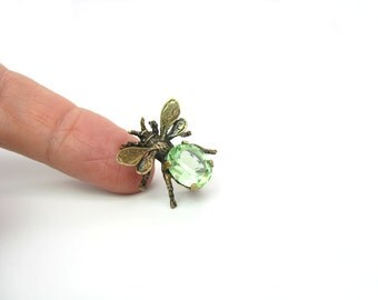 Insect Jewelry. Sterling Silver Brooch by Cini. Peridot Green Crystal Jewel Body. Gold Wash. Small Fly Bee Bug Pin. Vintage 1950s Jewelry.