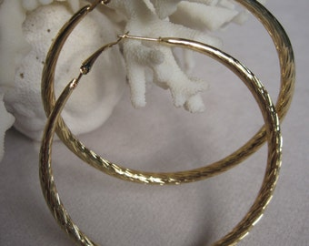 "Gold 2-3/4"" Diameter Soft Looped Etched Summer Hoop Earrings"