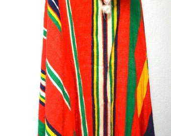 Long Technicolor Dream Coat, Hippie Cloak, Bohemian Long Jacket, Multi Color Poncho, Long Poncho
