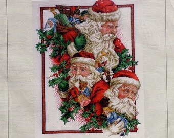 Donna Vermillion Giampa Stitchery THREE FACES Of SANTA - Counted Cross Stitch Pattern